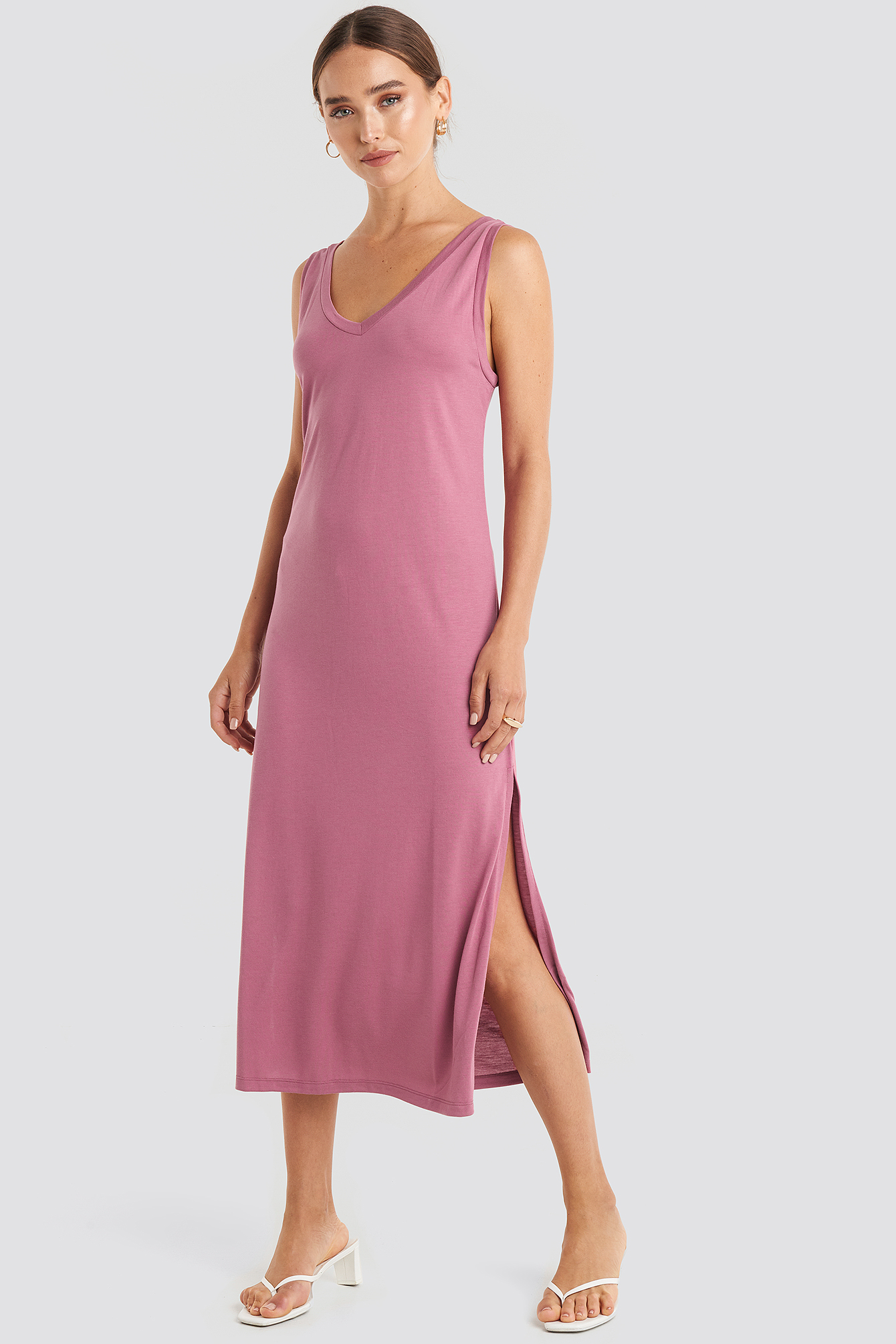 Purple Sleeveless Jersey Midi Dress