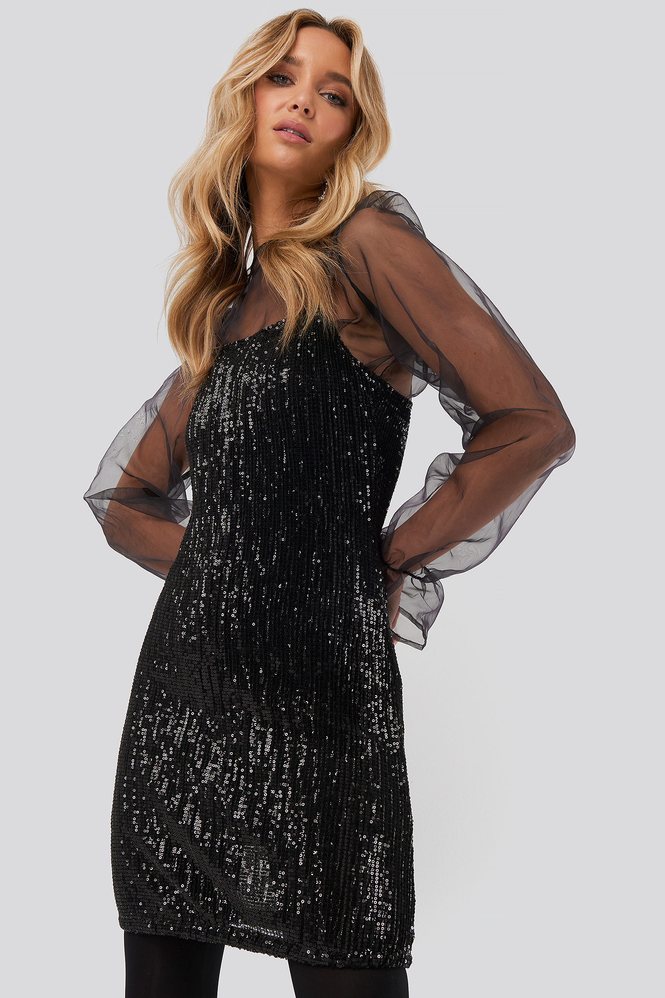 Black Spaghetti Strap Sequin Dress