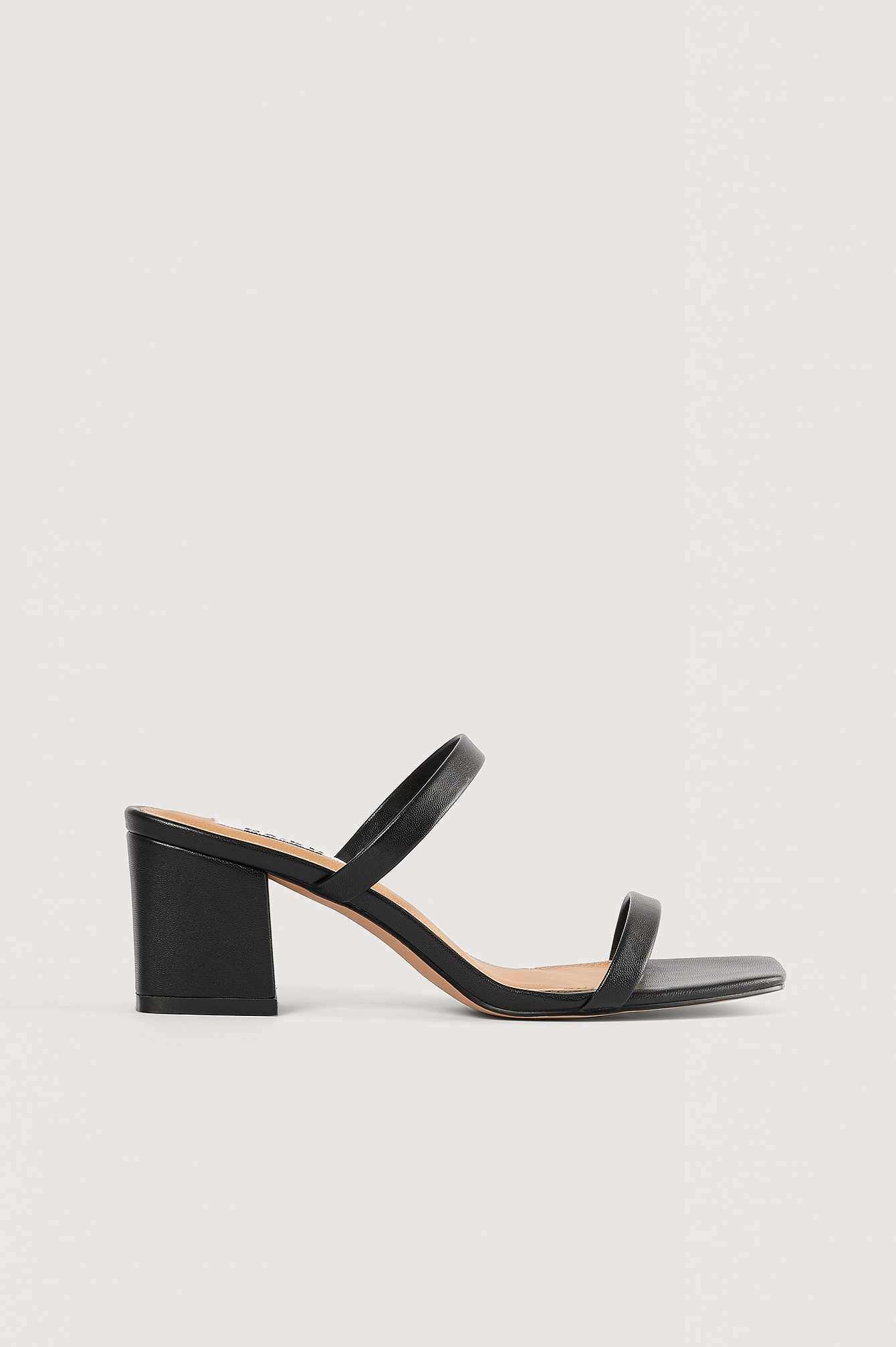 Black Squared Two Strap Sandals