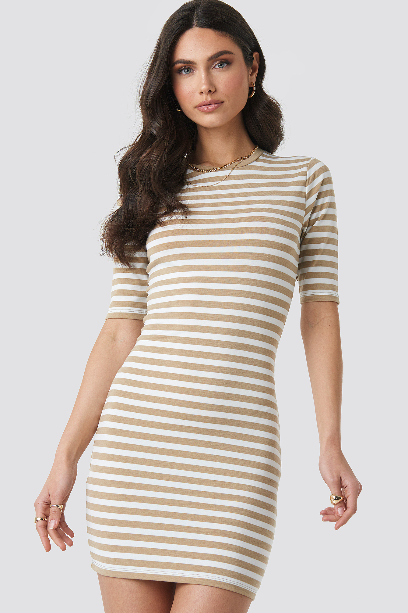 Beige Striped Fitted T-shirt Dress