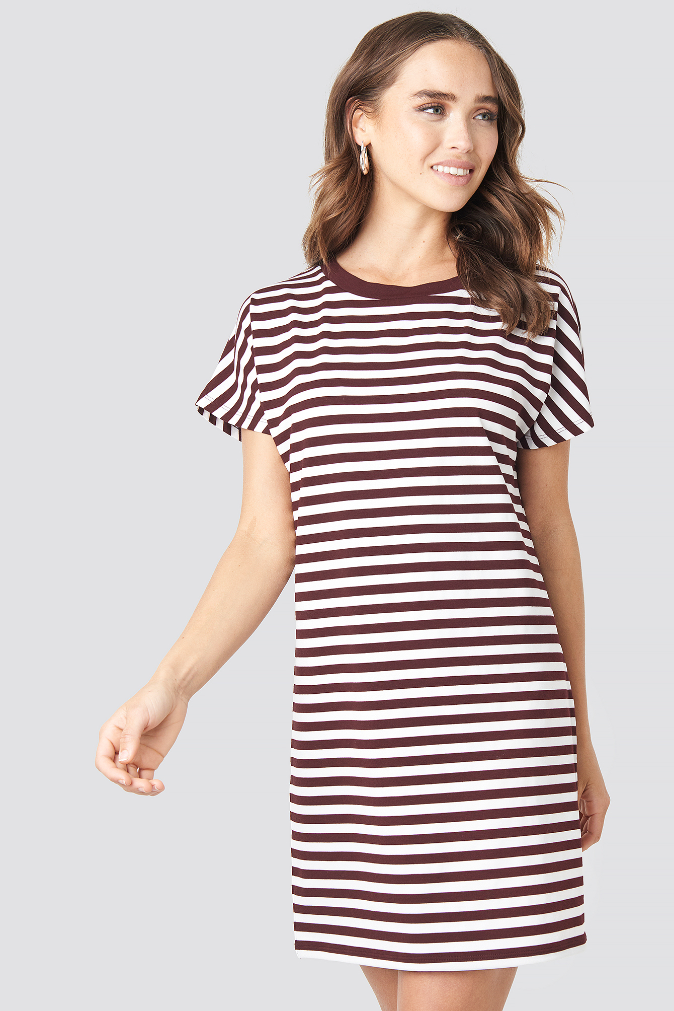 Burgundy Striped Oversized T-shirt Dress