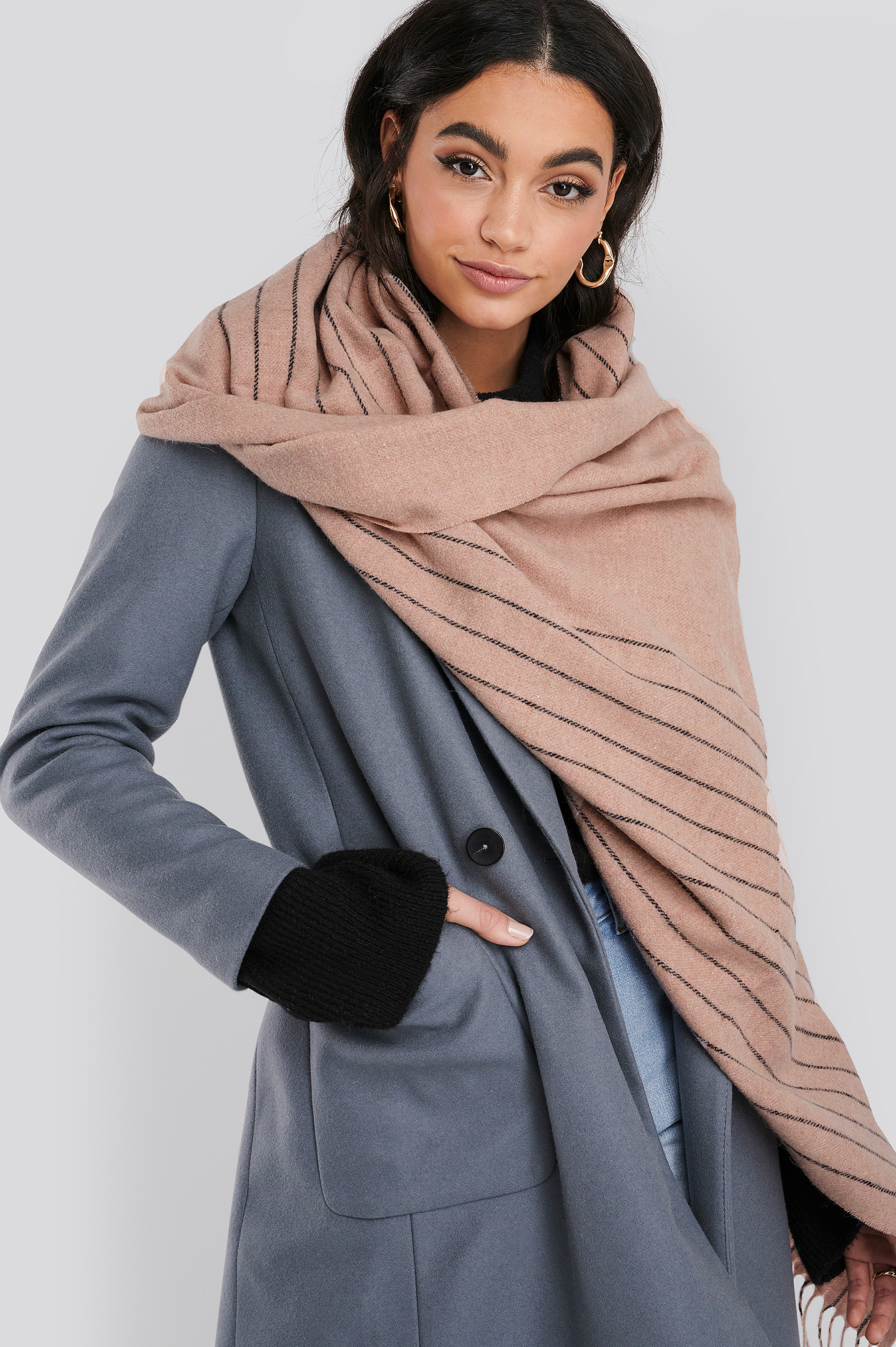 Dusty Pink Half Striped Soft Scarf