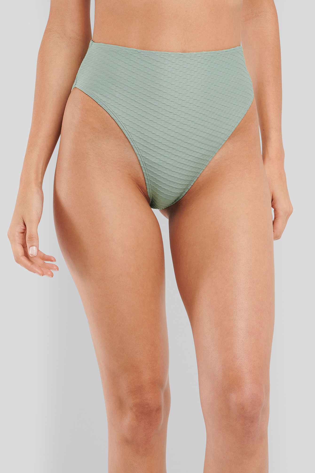 Dusty Green Structured High Waist Bikini Panty