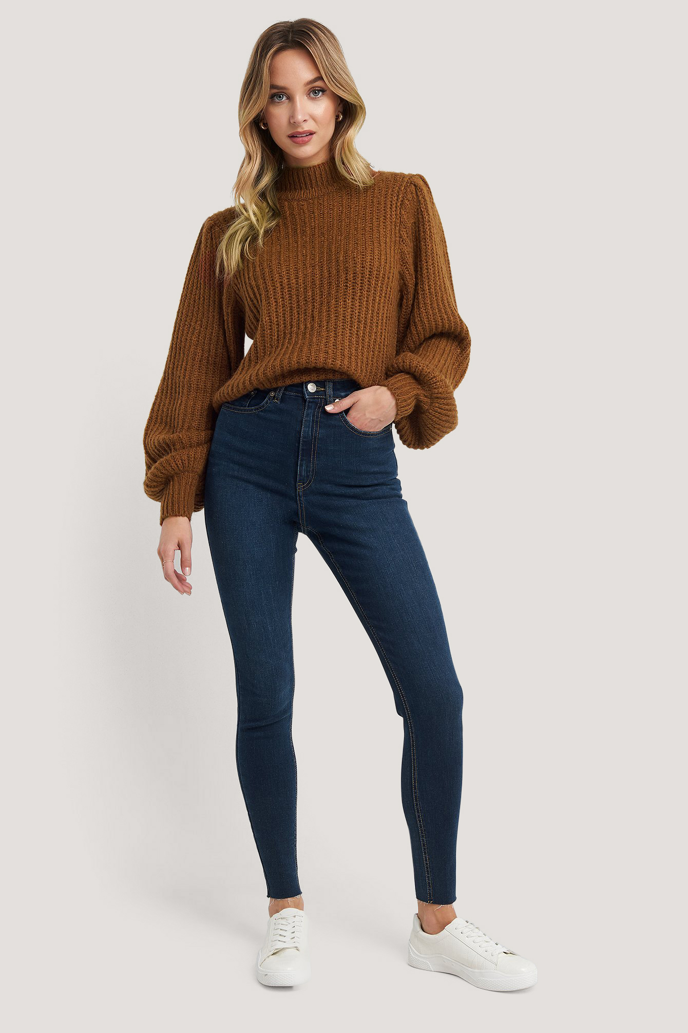 Dark Blue Super High Waist Skinny Jeans