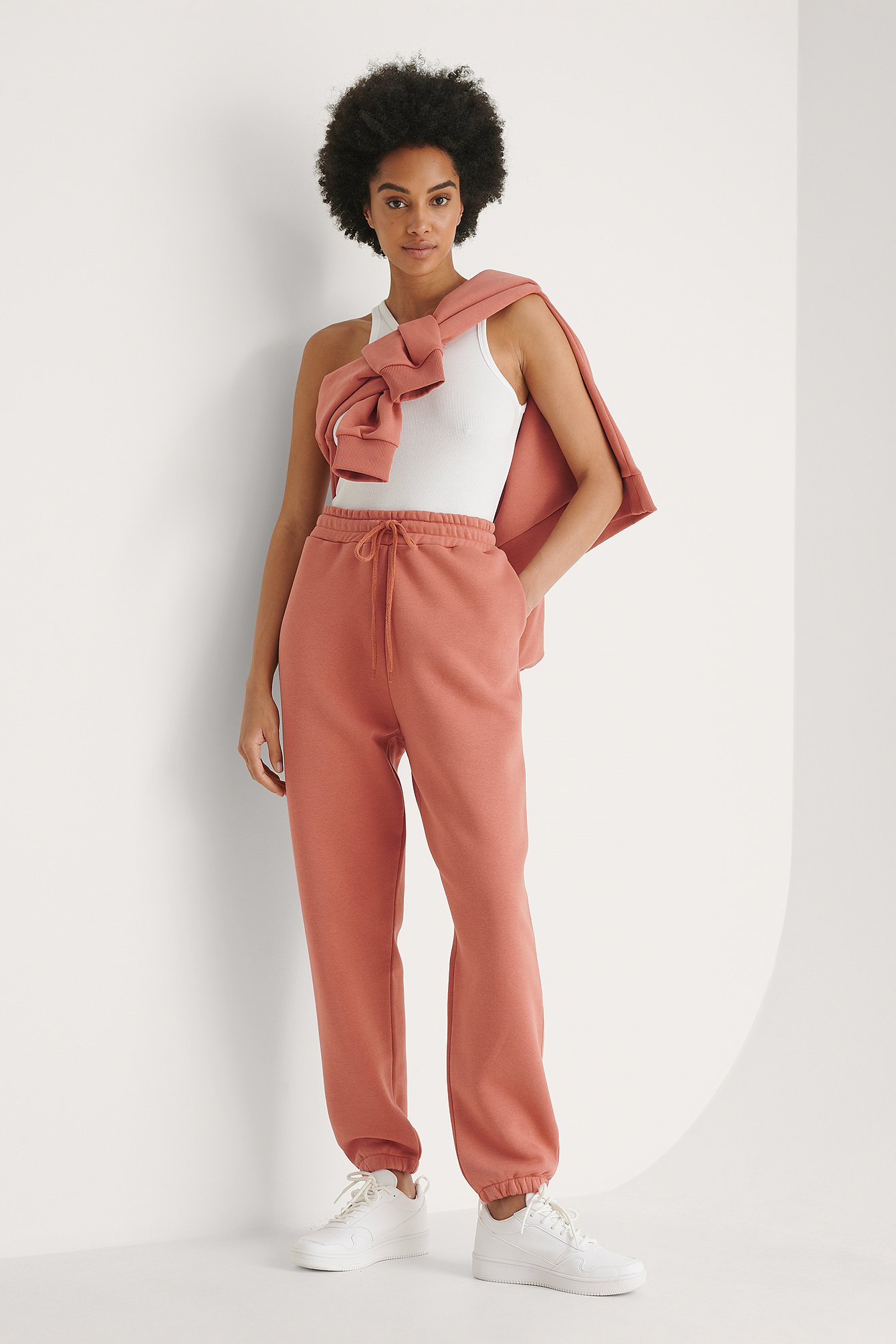 Dusty Dark Pink Pantalon De Survêtement Fuselé Bio