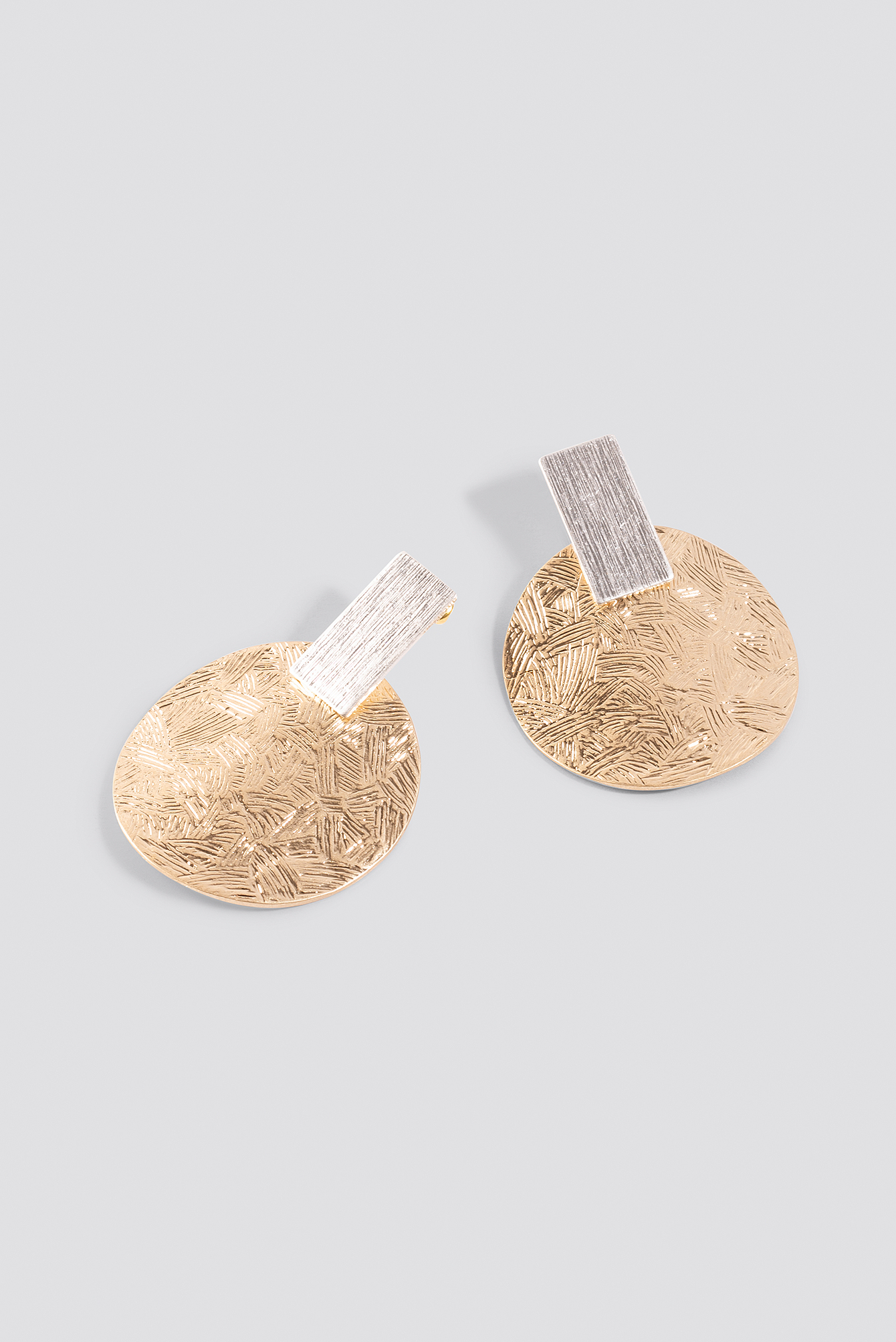 Gold/Silver Texture Plate Square Earrings