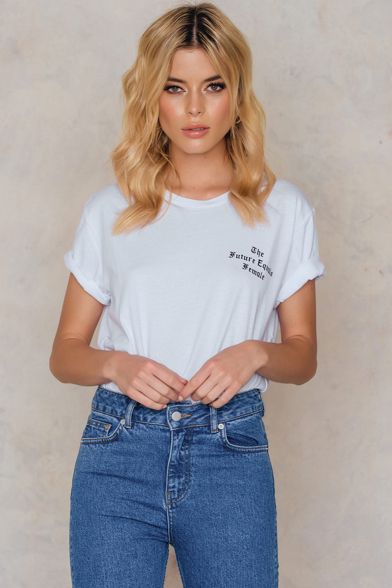 White The Future Equals Female Oversized Tee