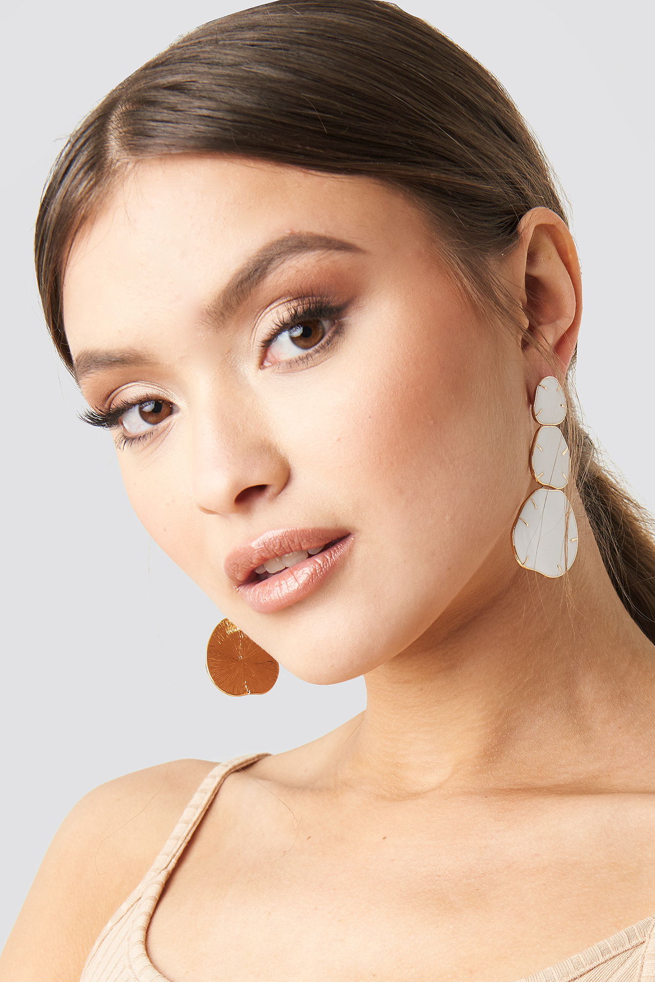 White Three Plate Drop Earrings