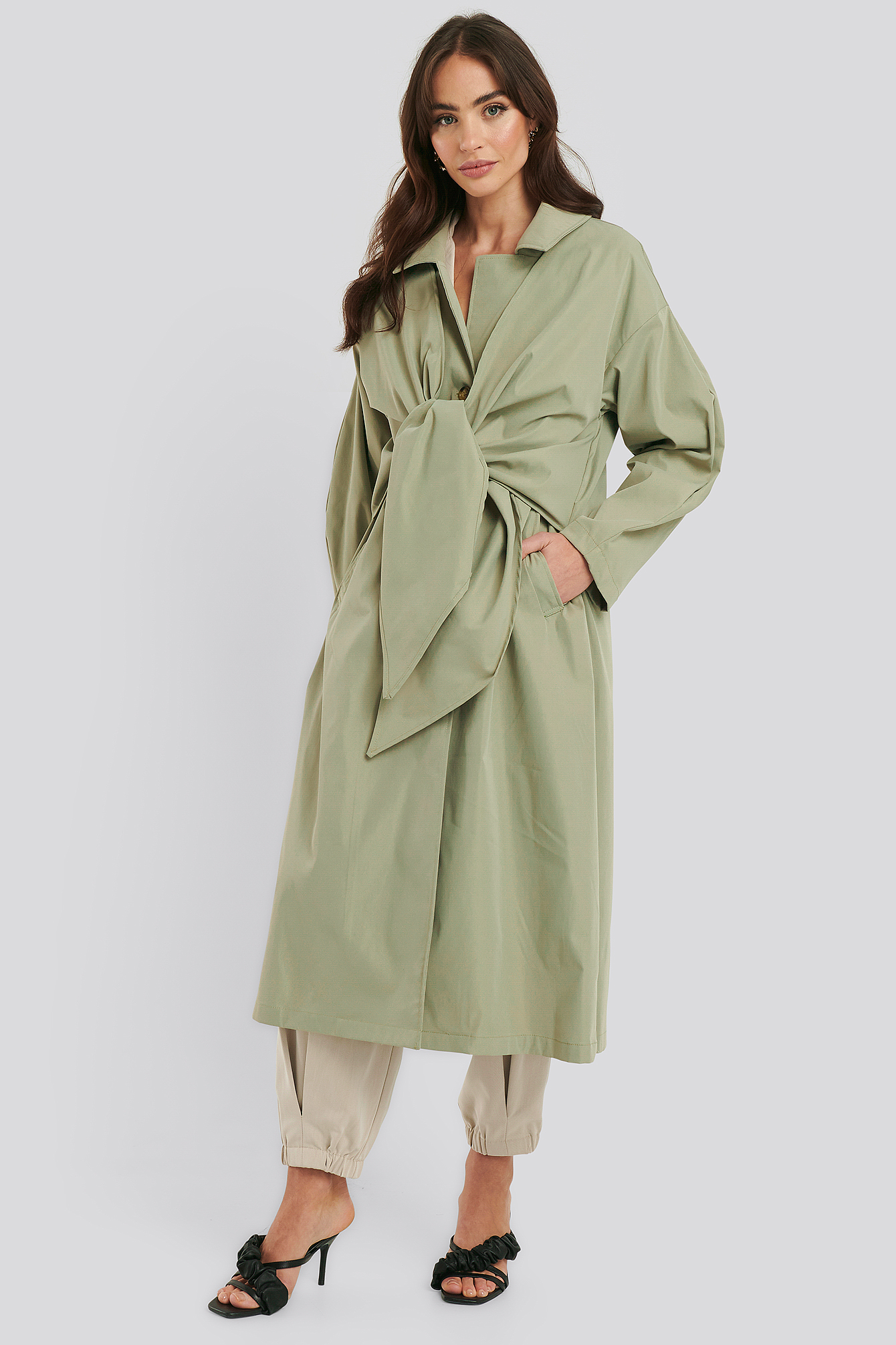 Dusty Green Tie Front Trench Coat