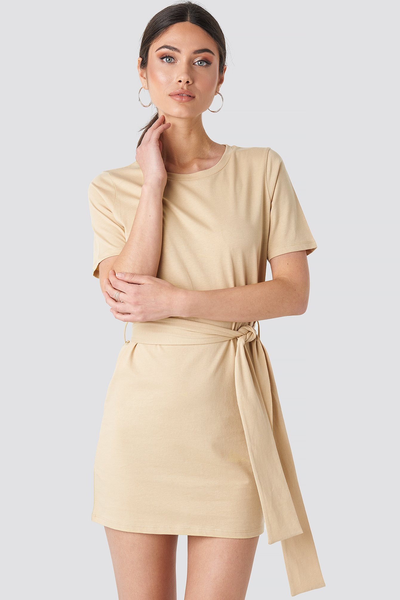 Beige Tie Waist T-shirt Dress