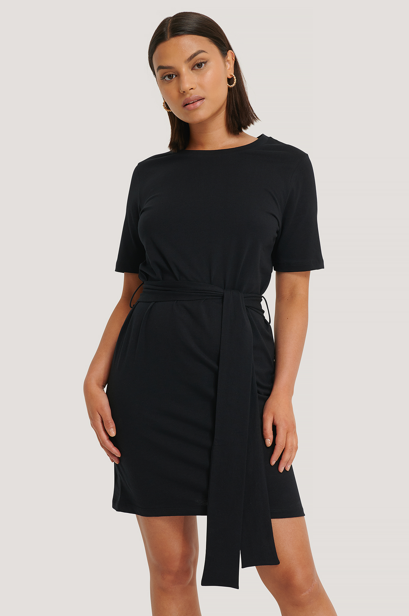 Deep Black Tie Waist T-shirt Dress