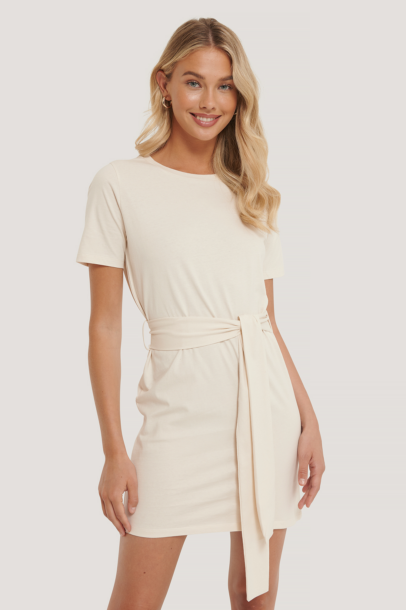 Off White Tie Waist T-shirt Dress