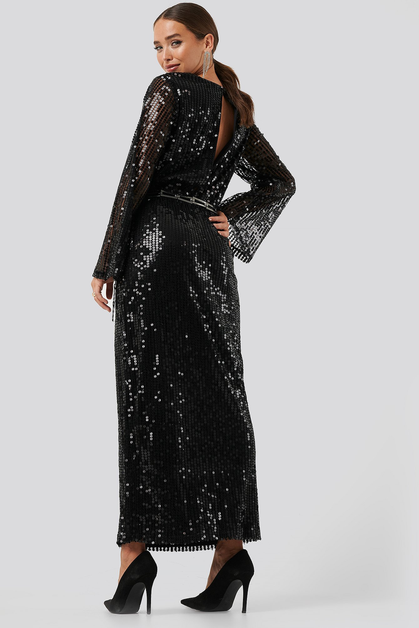 Black Trumpet Sleeve Sequin Dress