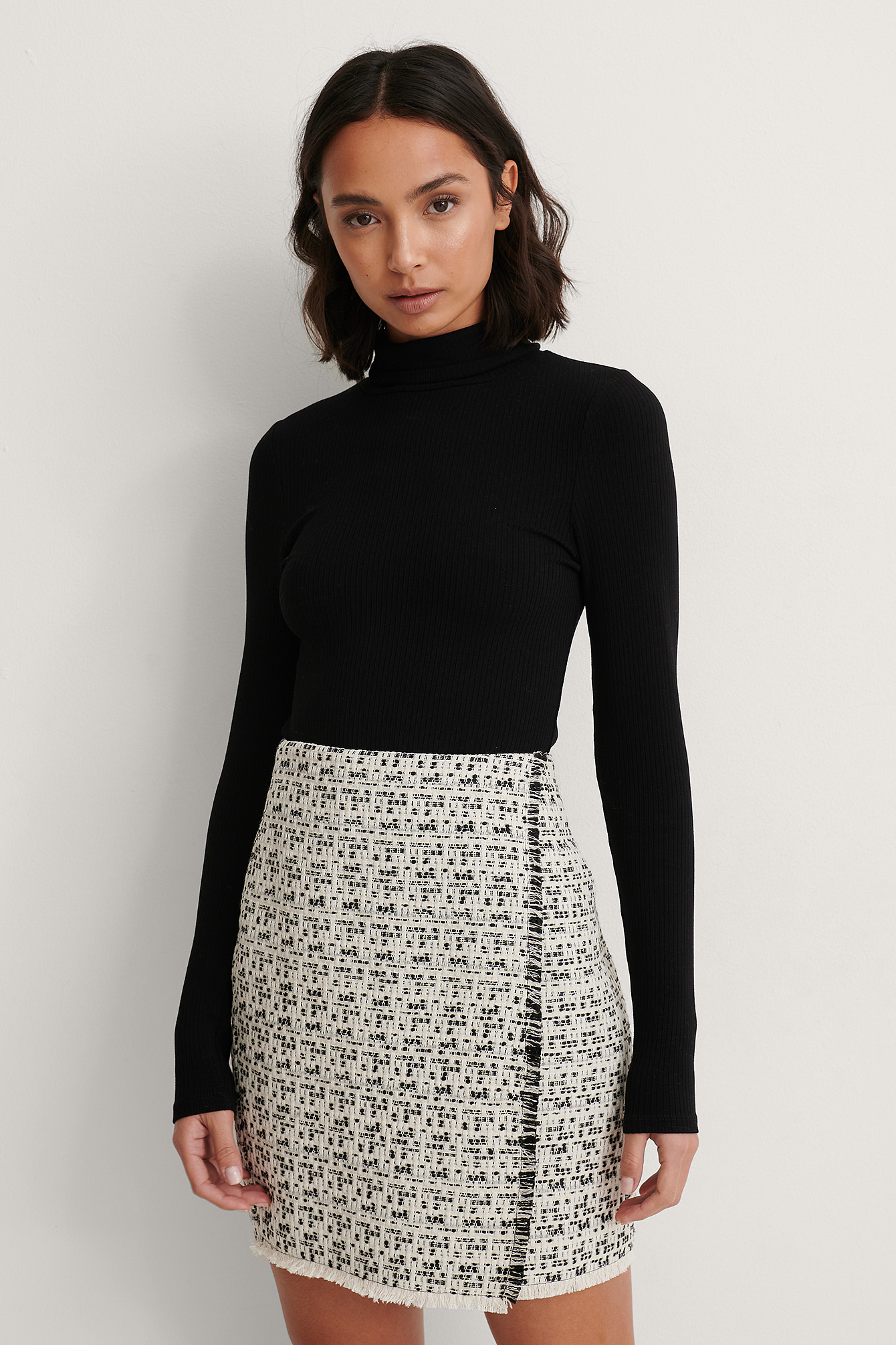 Black/White Jupe Courte En Tweed