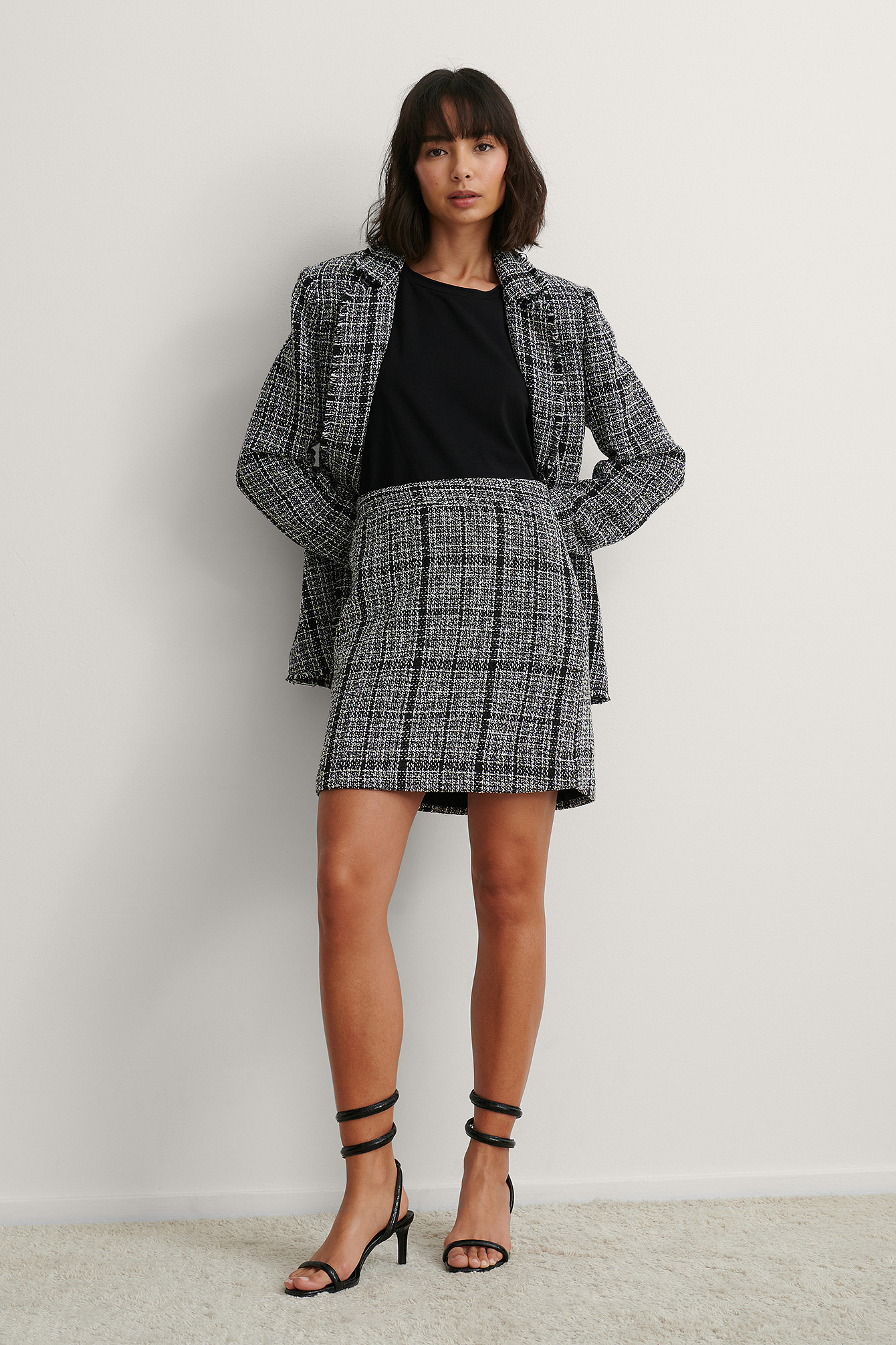 Black Check Jupe Courte En Tweed