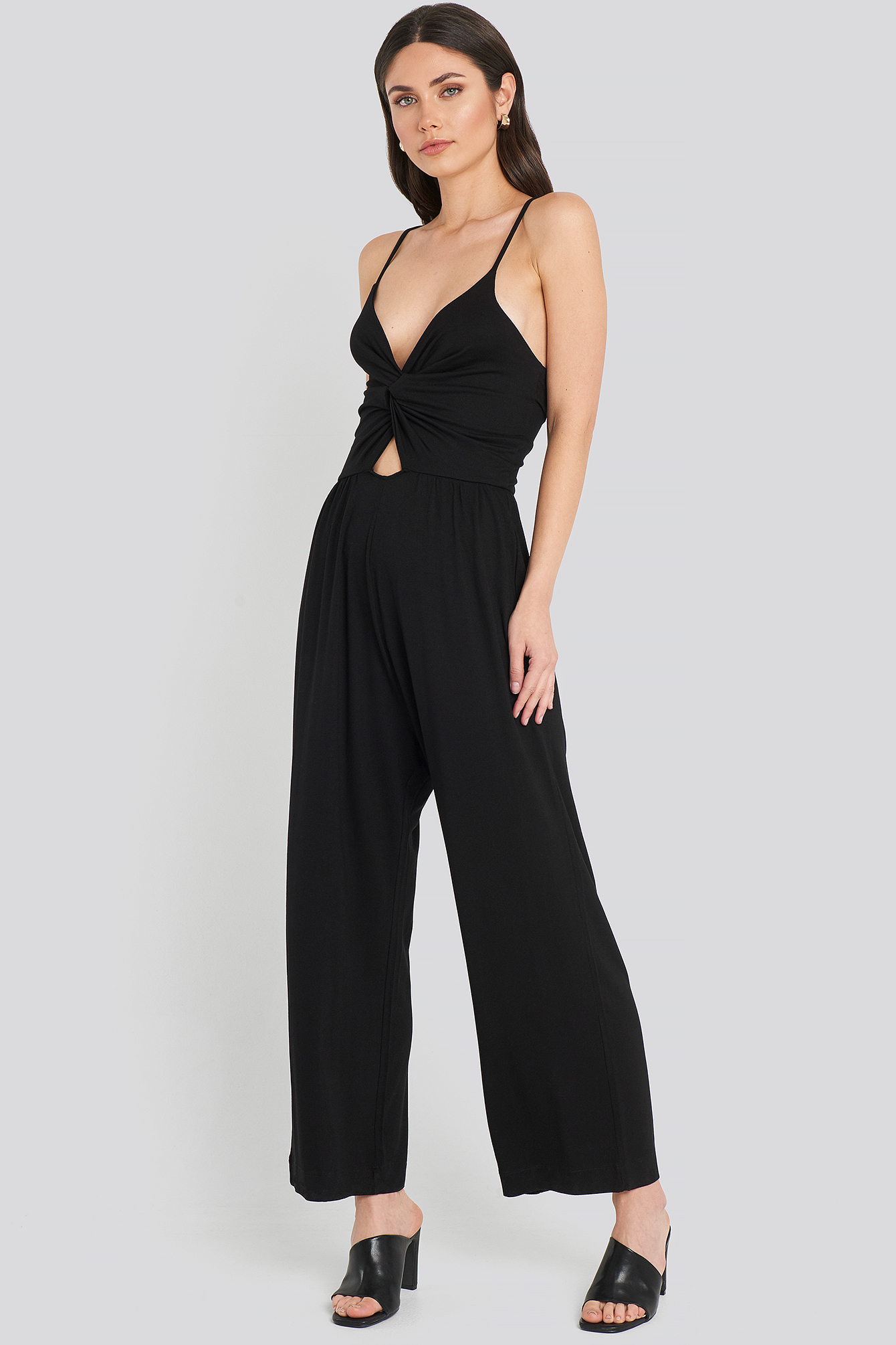 Black Twist Front Cami Jumpsuit
