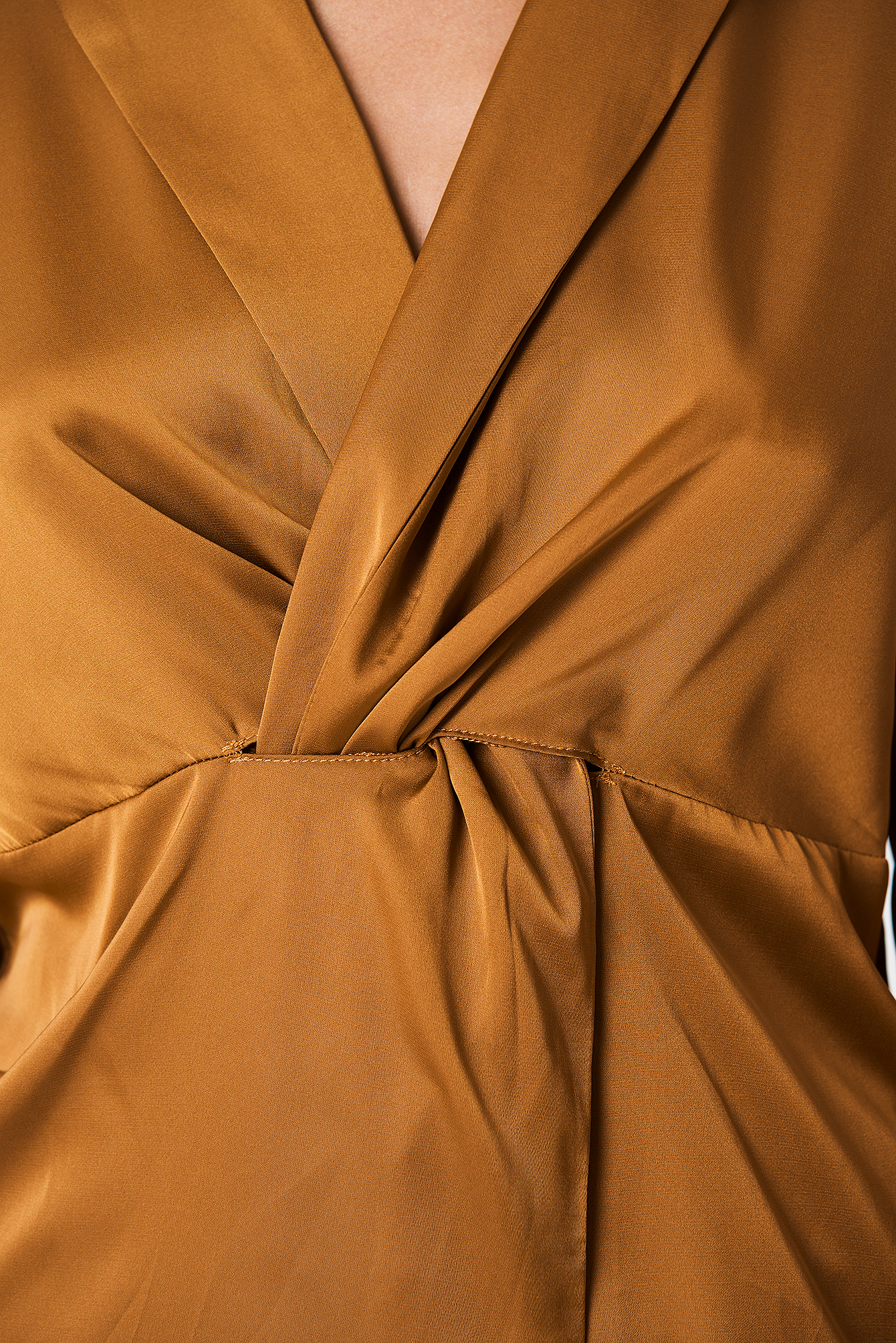 Golden Brown Twisted Front Blouse