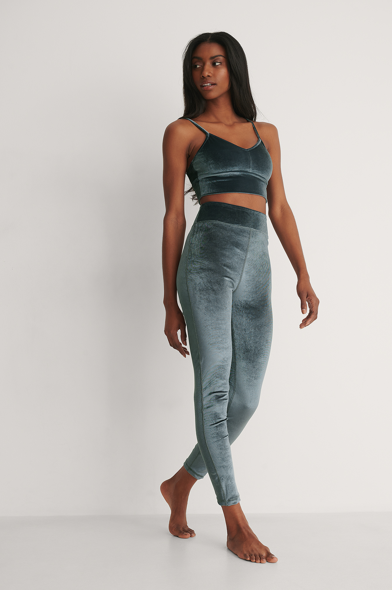 Grey Leggings En Velours