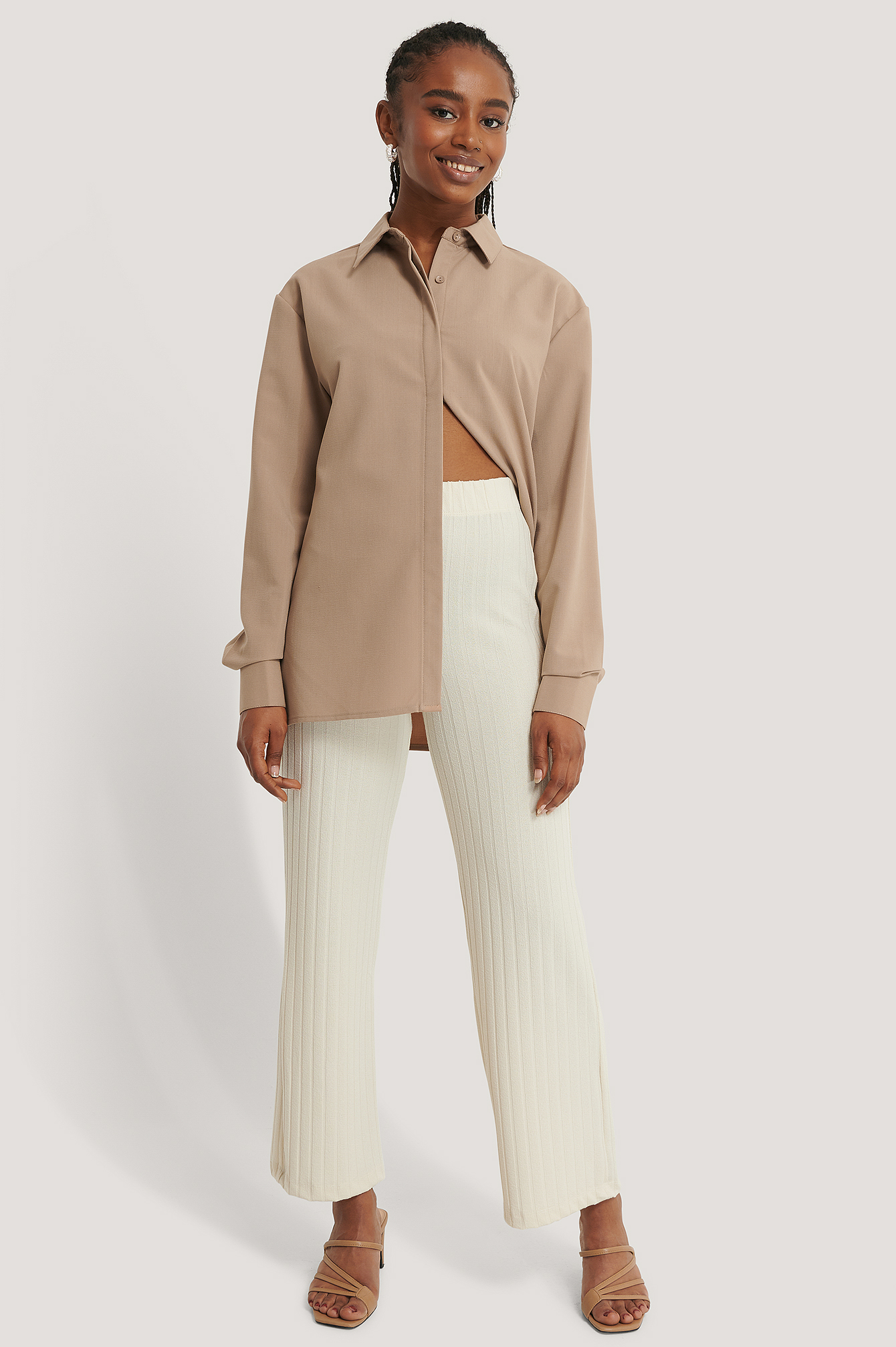 Dusty Light Beige Pantalon Ample