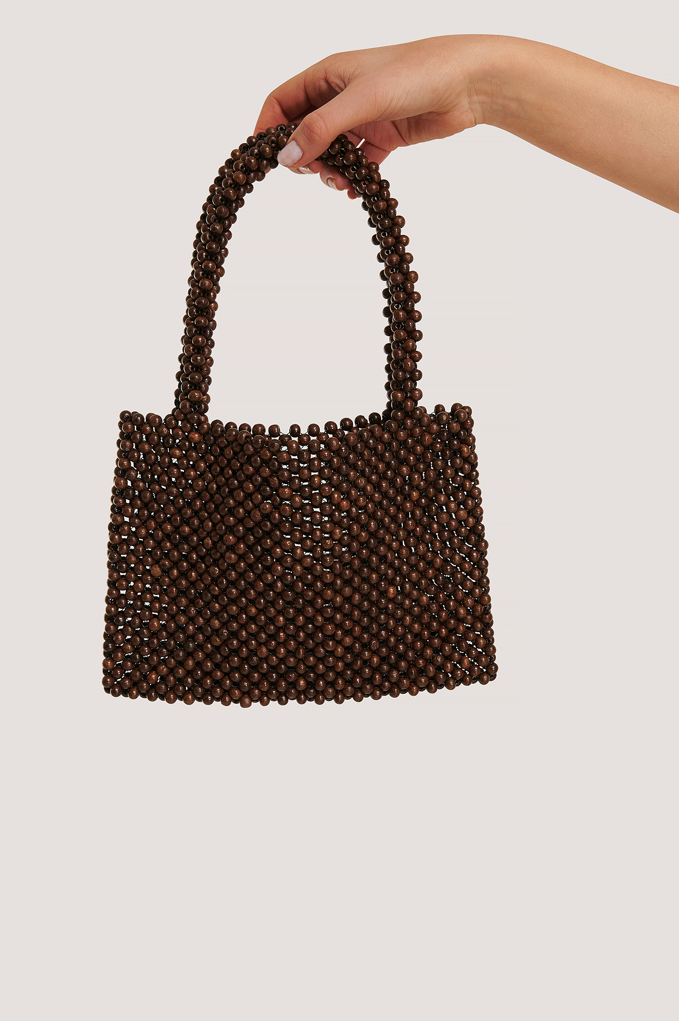 Brown Wood Pearl Bag