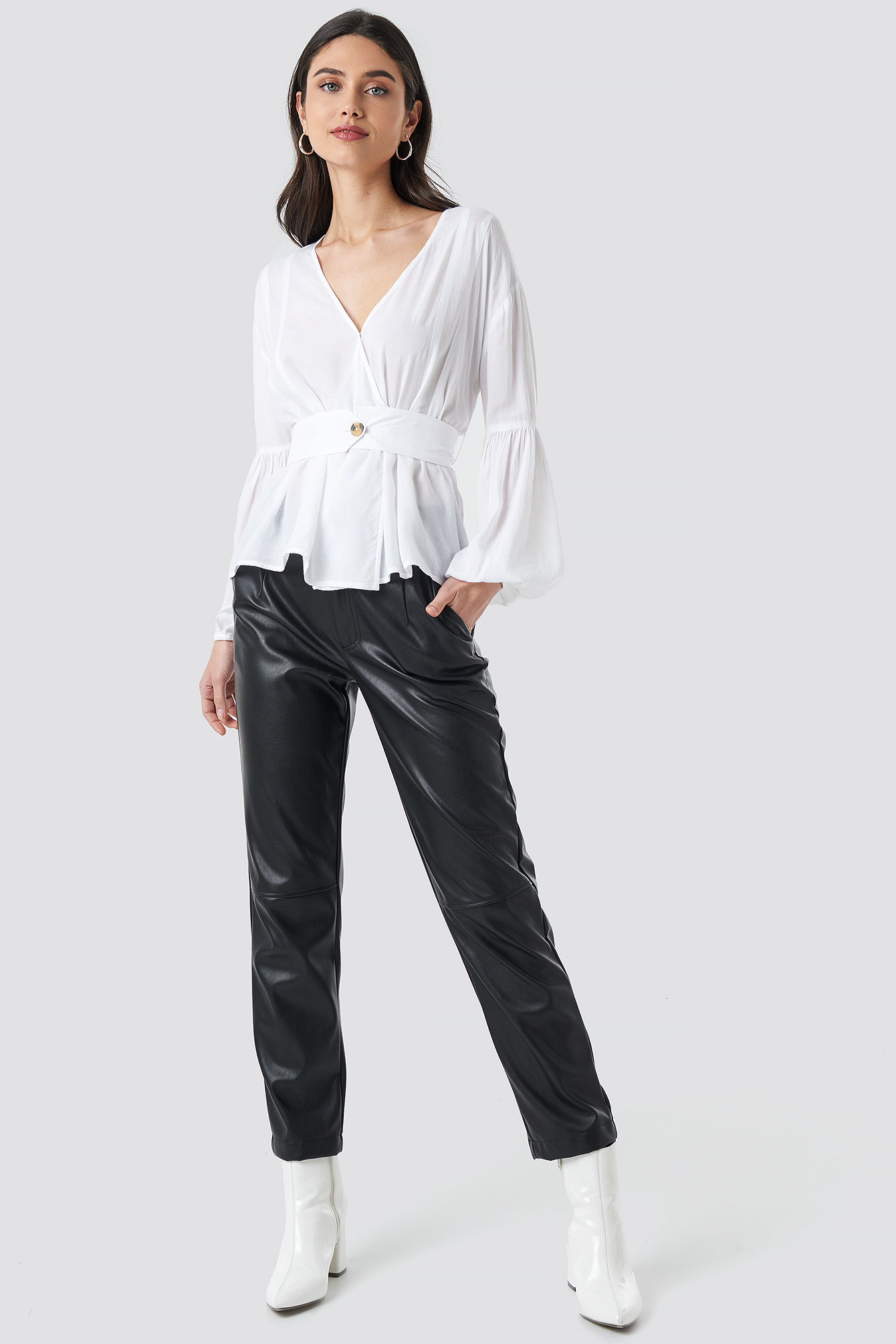 White Wrap Front Fitted Waist Blouse