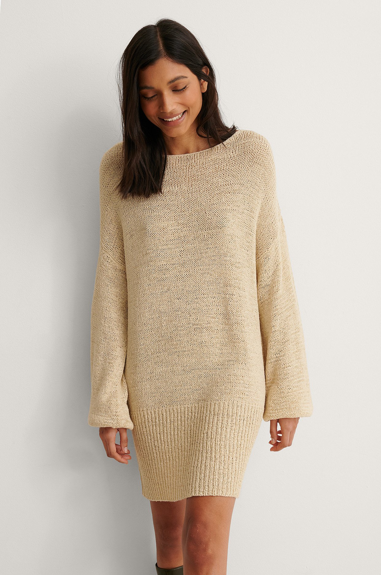 Light Beige Pull En Maille Long Ruban