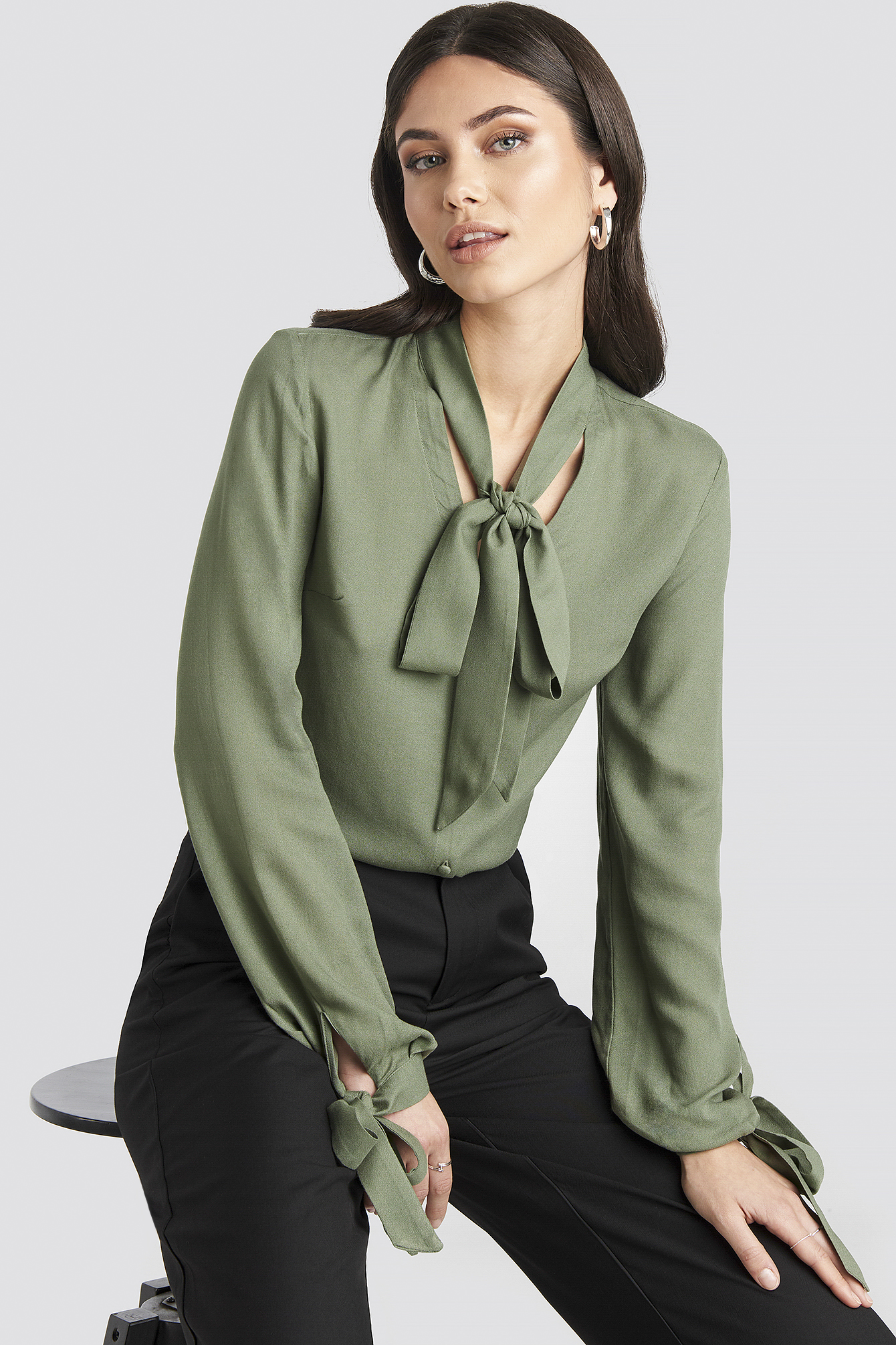 Olive Tied Sleeve Blouse