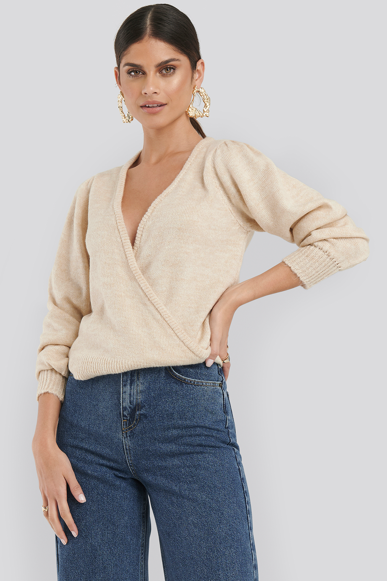 Beige Overlap Puff Sleeve Knitted Sweater