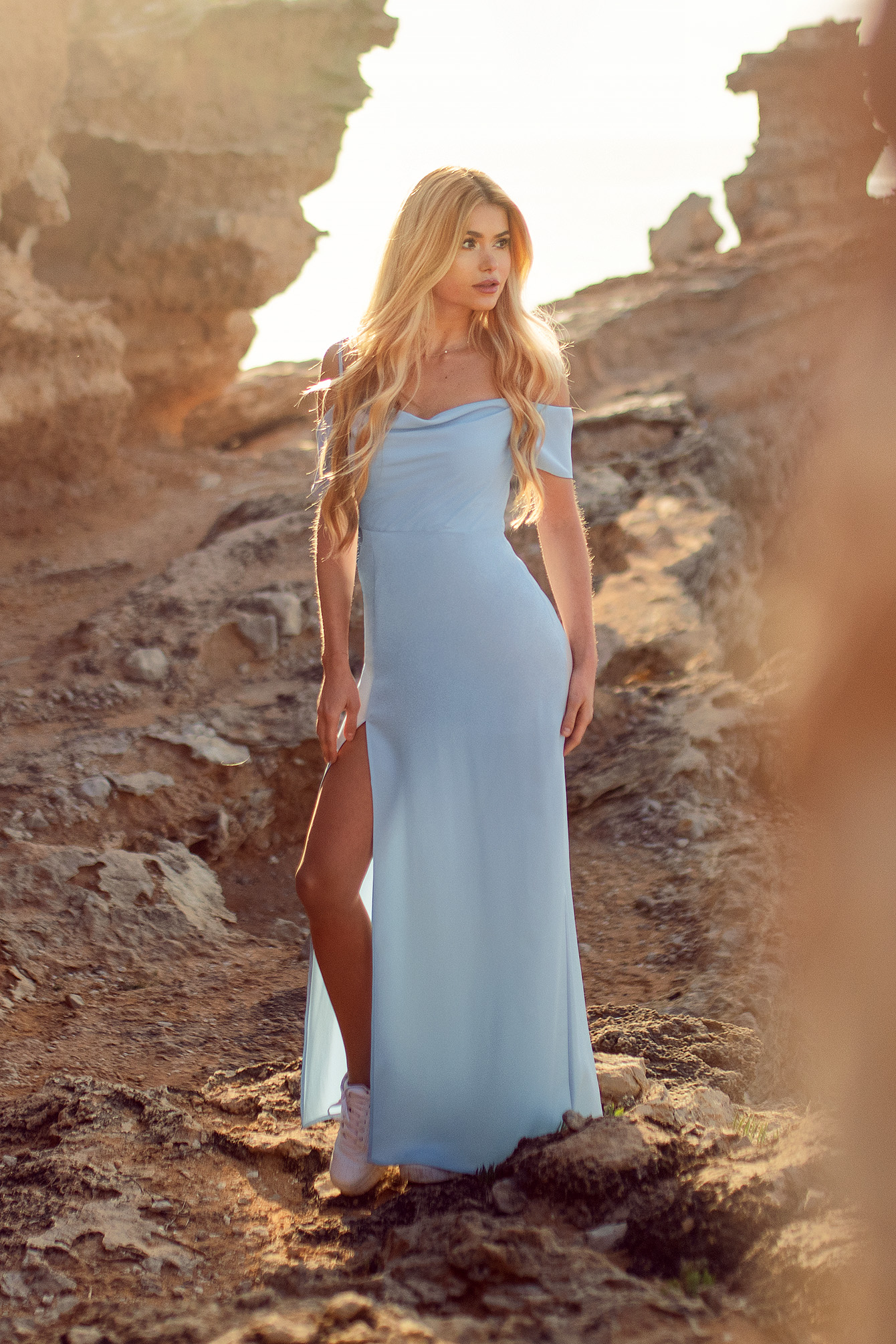 Dusty Blue Maxi Robe