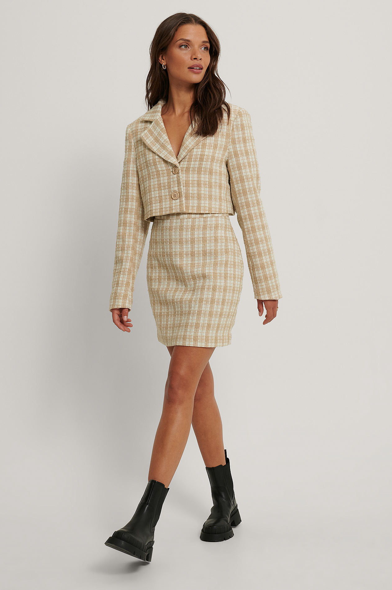 Cream Jupe En Tweed