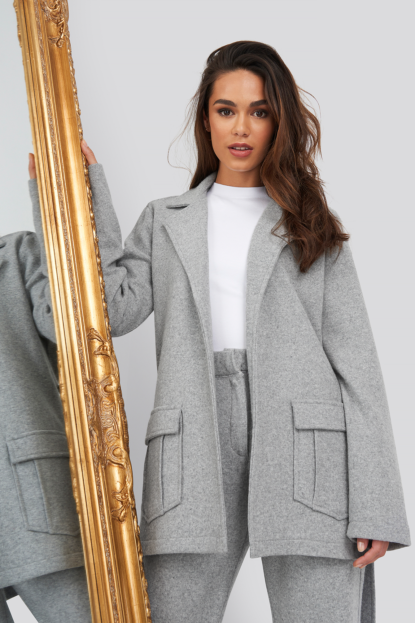 Grey Front Pocket Oversized Blazer