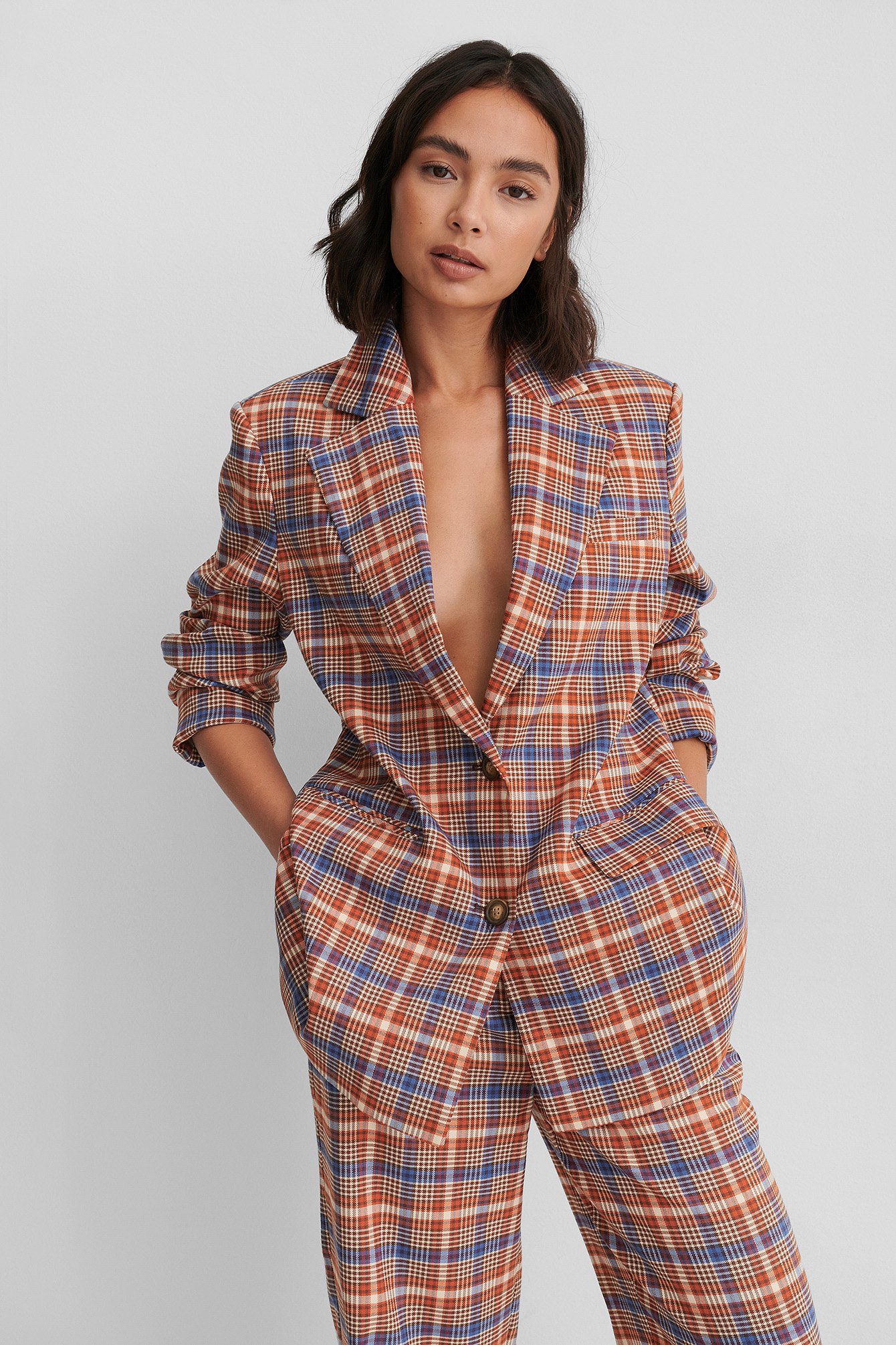 Checked Recyclé Blazer Surdimensionné