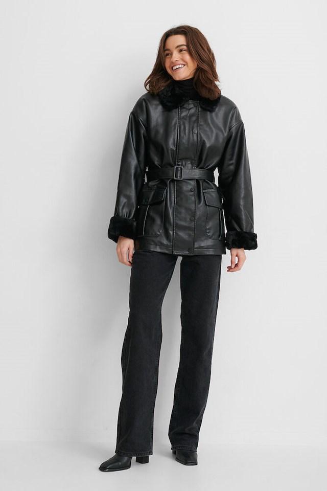 Faux Fur Bonded PU Jacket Outfit.
