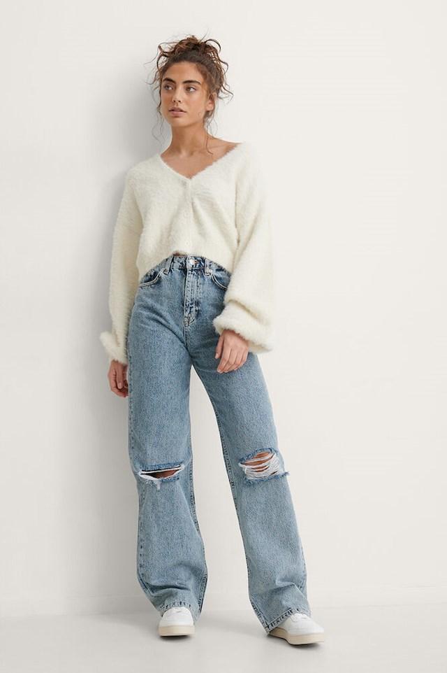 Acid Wash Wide Leg Destroyed Jeans
