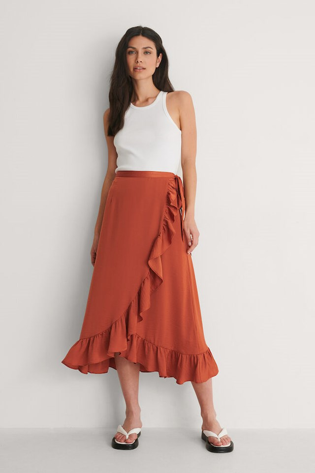 Frill Overlap Skirt Outfit