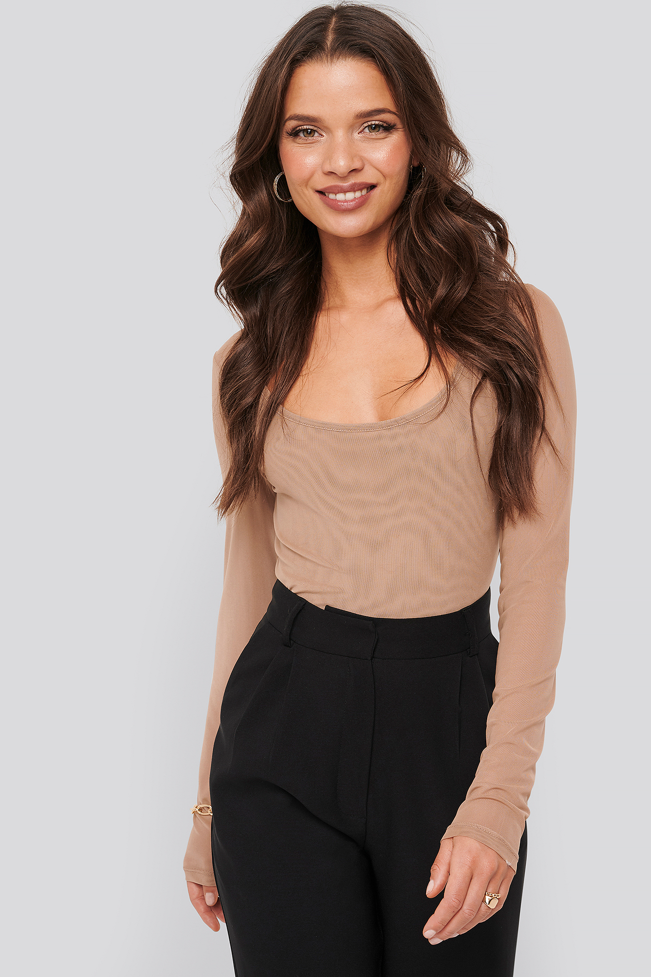 Taupe Cropped Mesh Top
