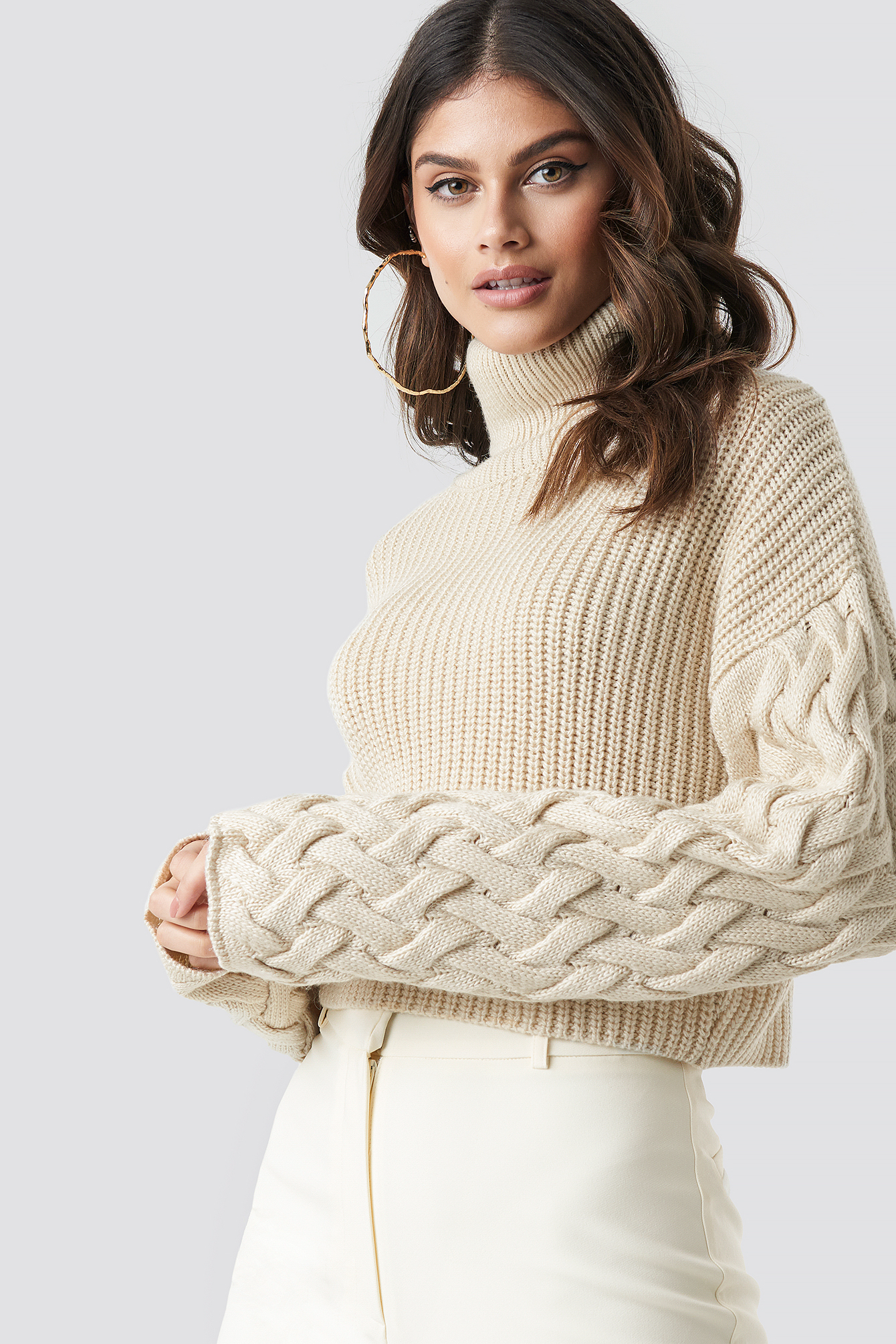 Beige Sleeve Detail Knitted Sweater
