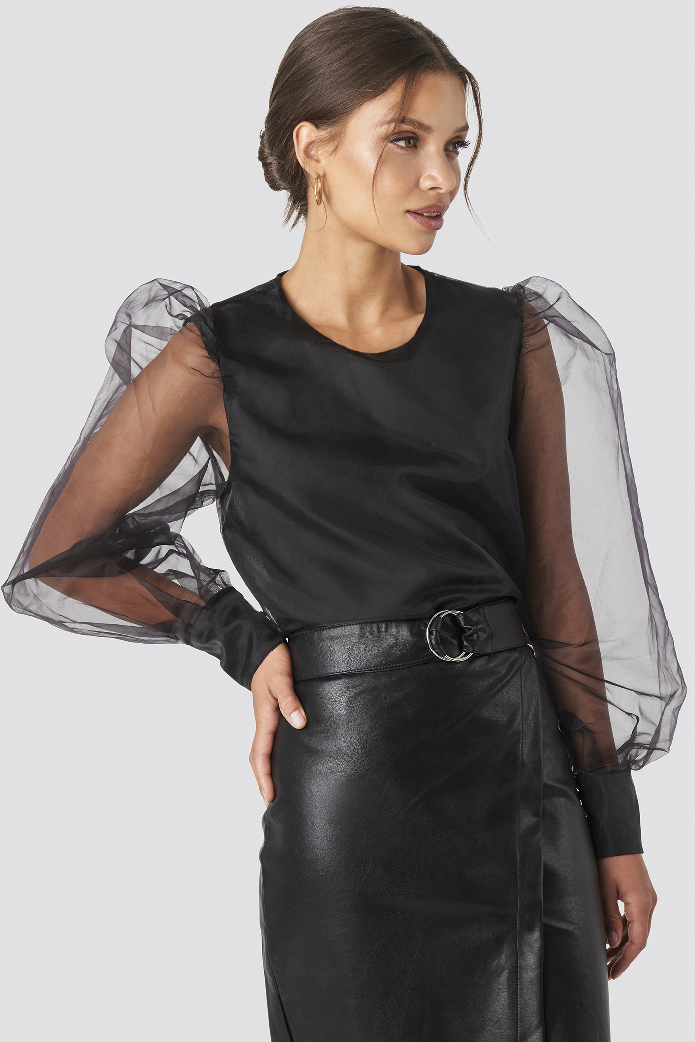 Black Puffy Sleeve Organza Blouse