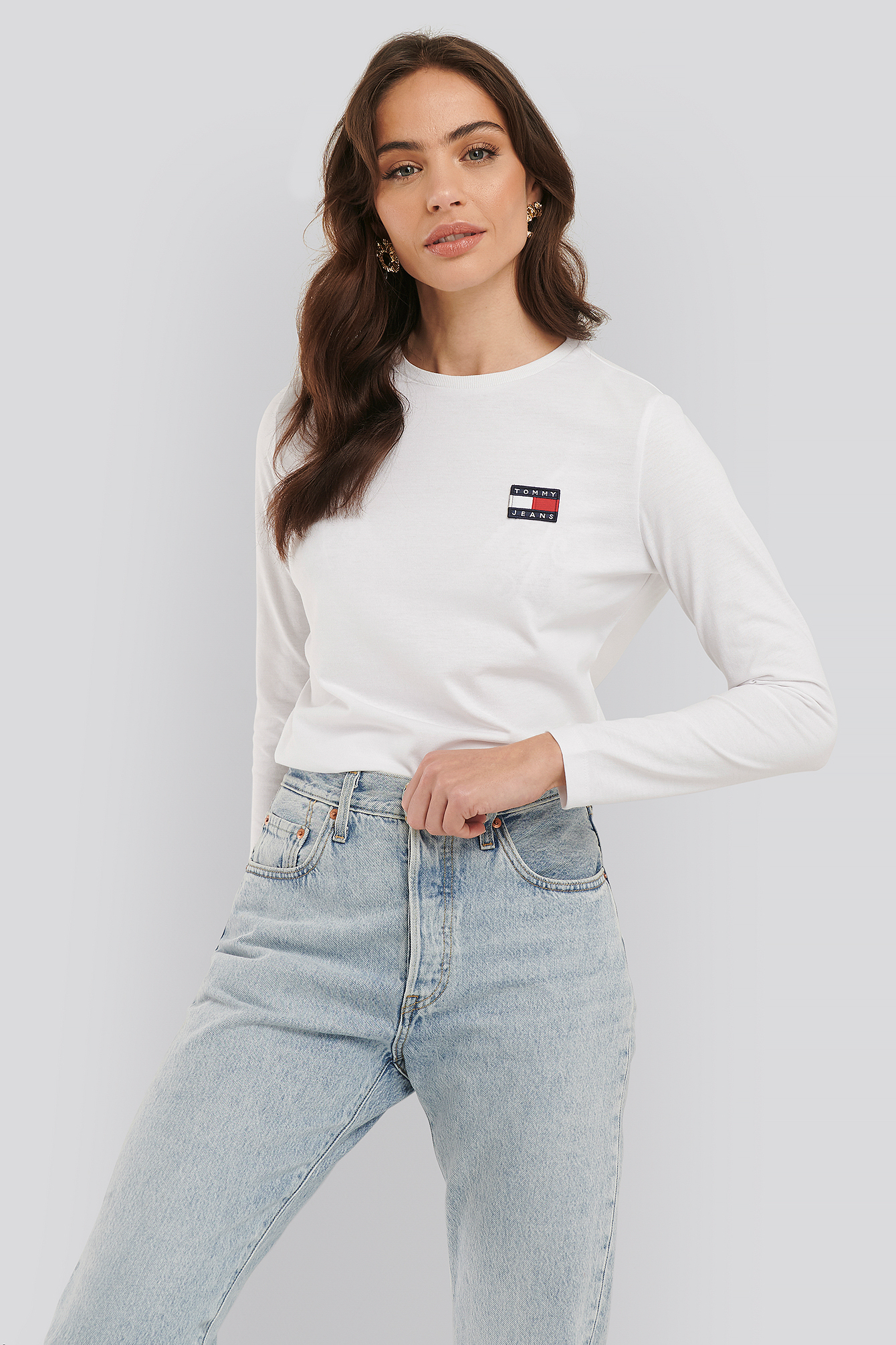 Classic White Tommy Badge Longsleeve Top