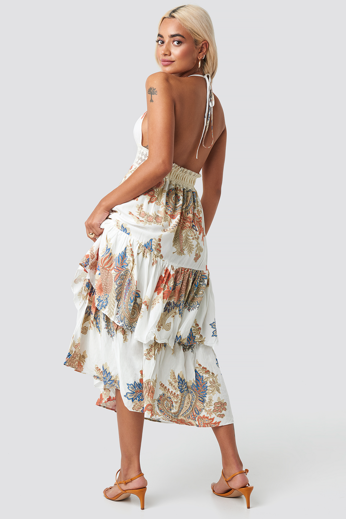 Multicolor Back Trimmed Beach Dress