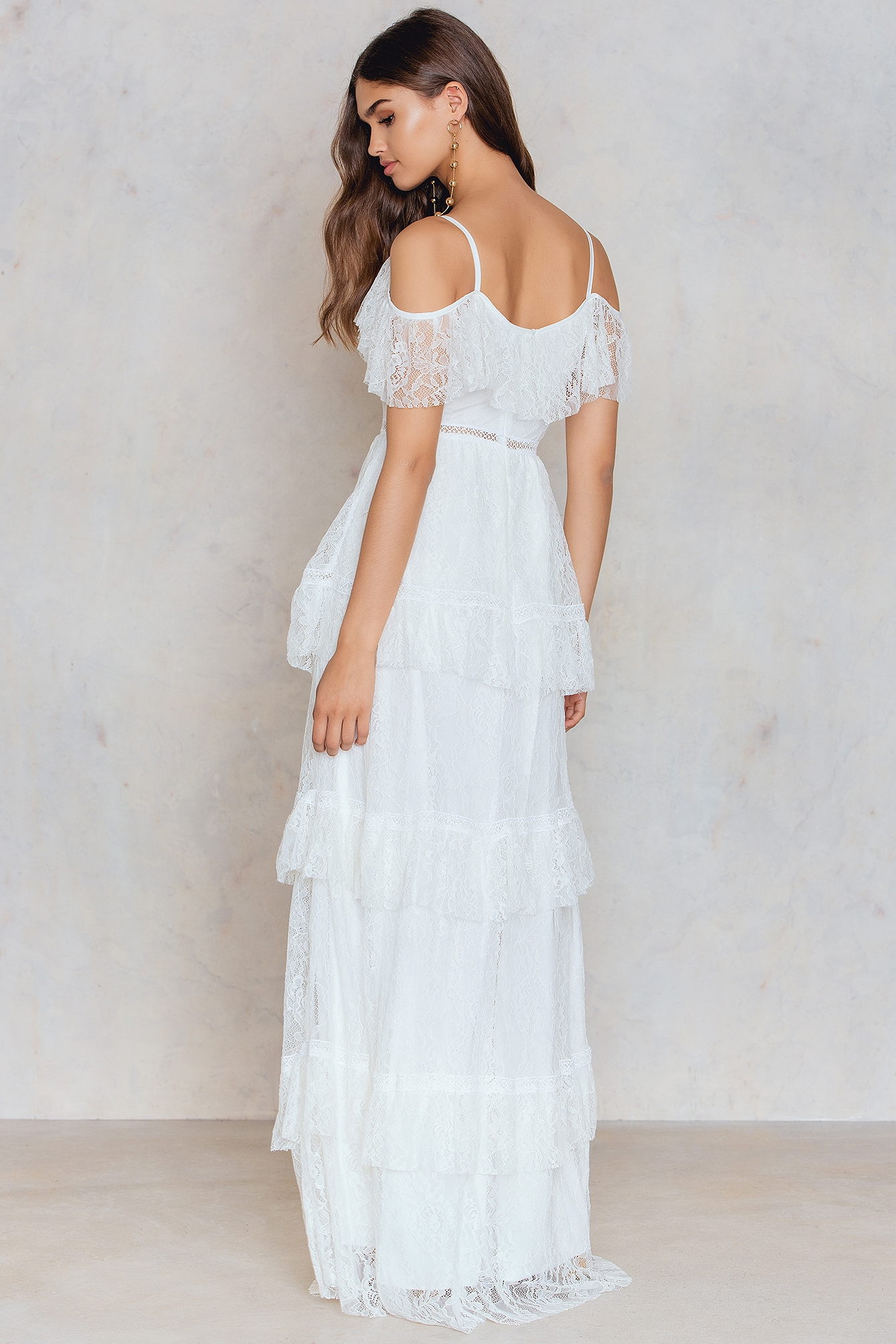 Ecru Cold Shoulder Lace Maxi Dress