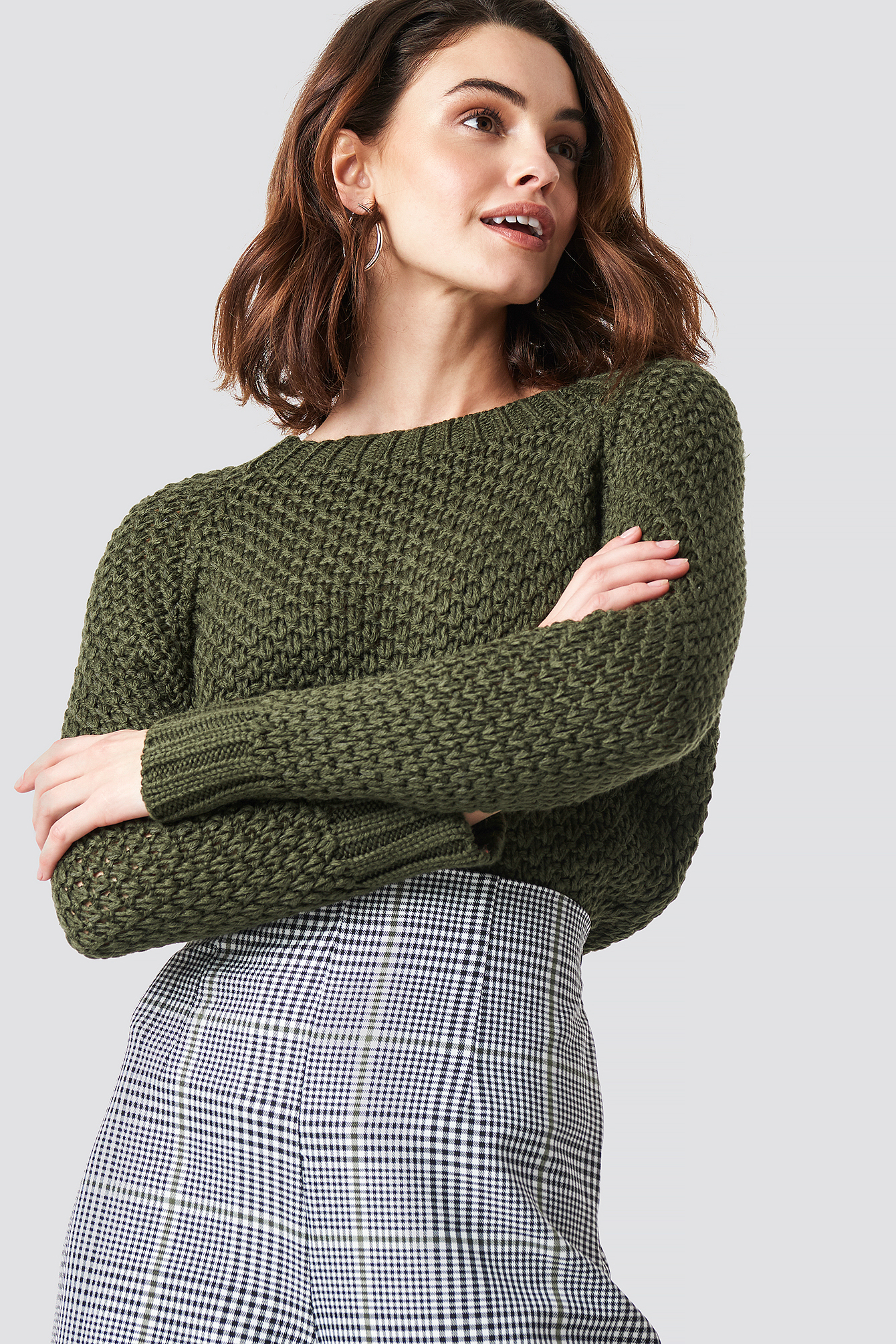 Khaki Knit Detailed Sweater
