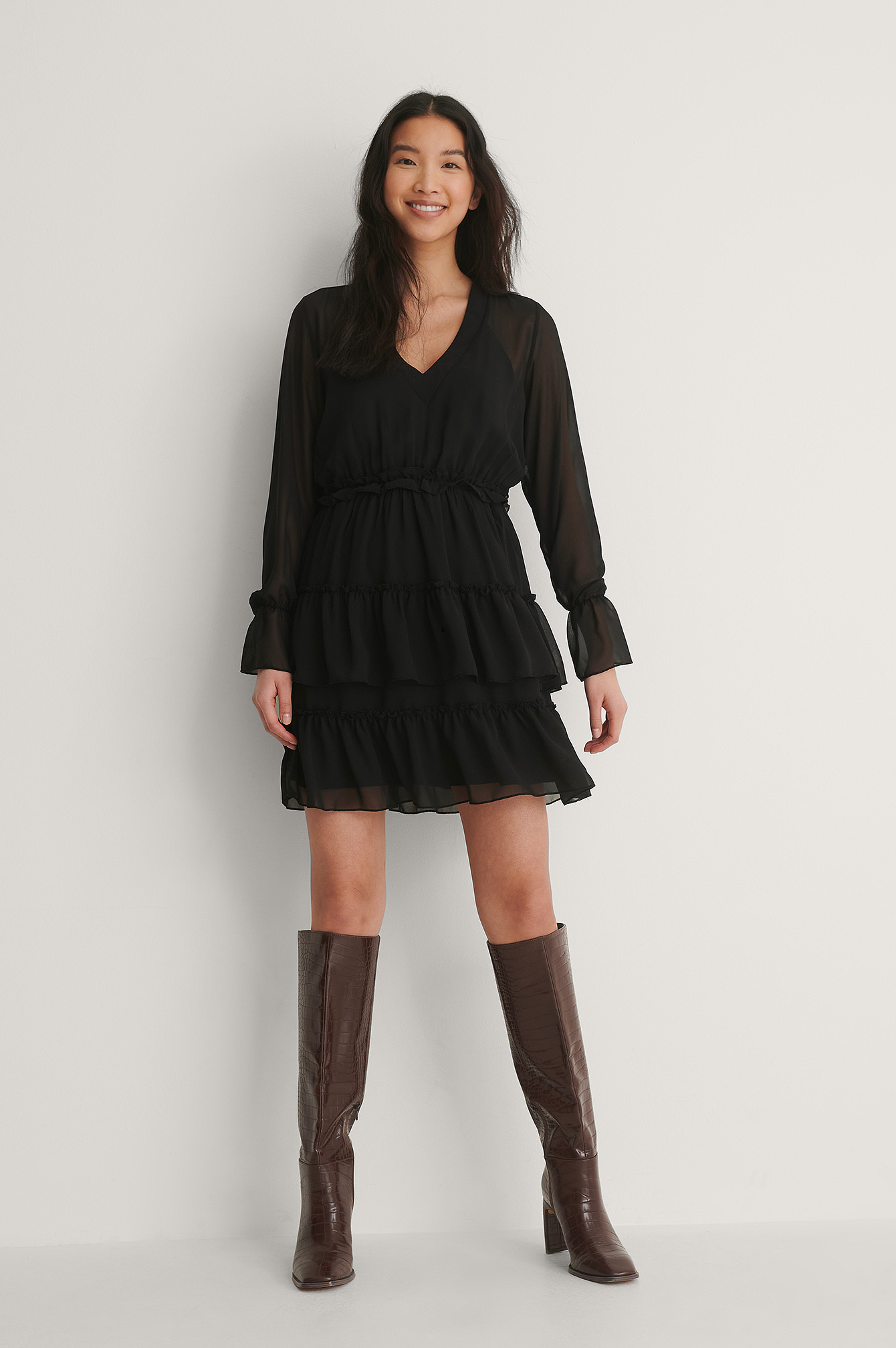 Black Mini Robe En Maille