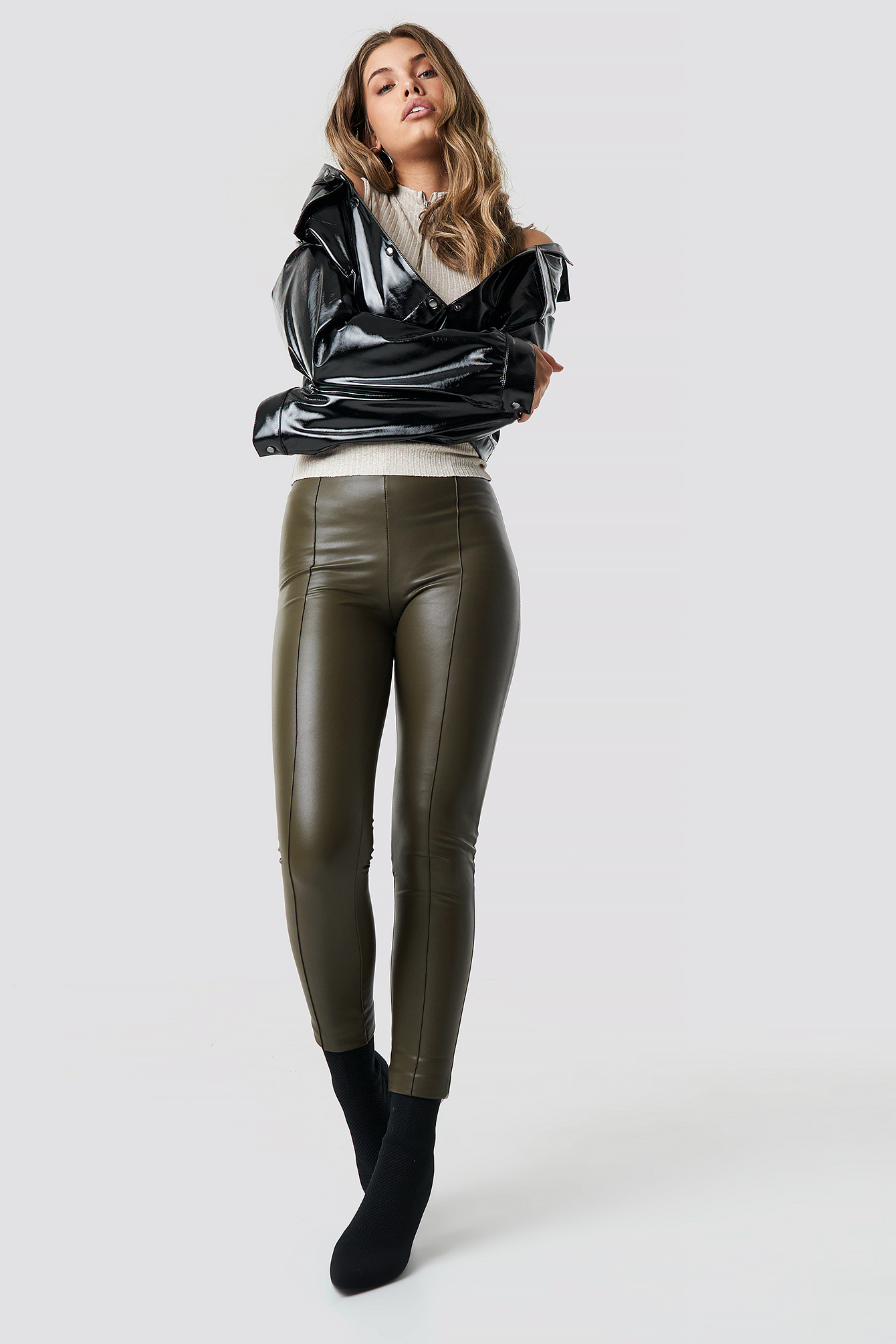 Khaki Pu Leather Pants