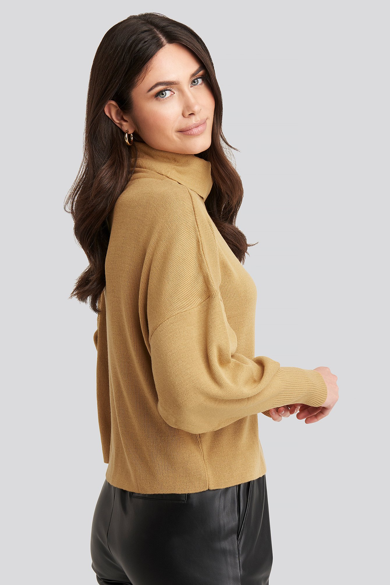 Camel Turtleneck Knitted Sweater
