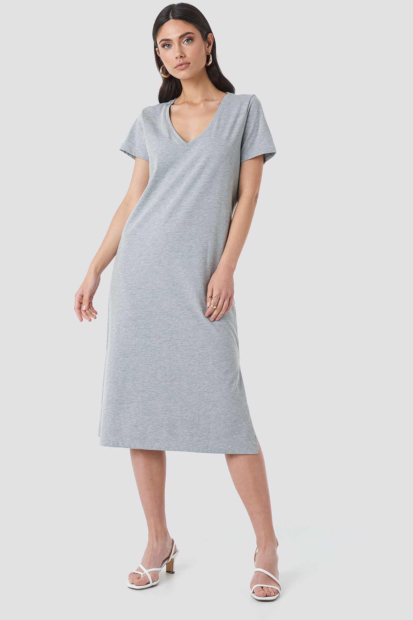 Grey Melange V-neck Jersey Dress