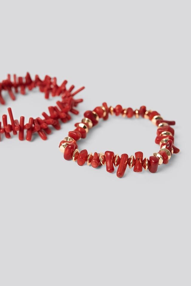 2-pack Coral Look Bracelets Red