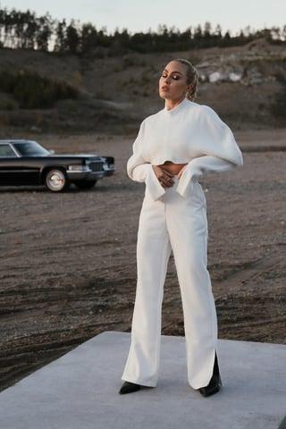 Off White Pantalon Couture Visible