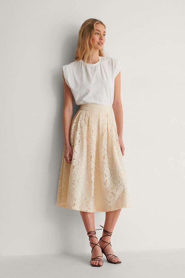 Darted Lace Midi Skirt