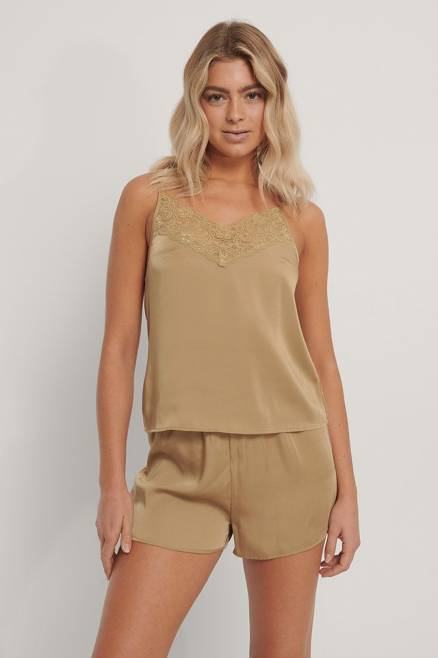 Lace Edge Night Satin Singlet Olive